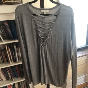 Express large deep v neck grey shirt